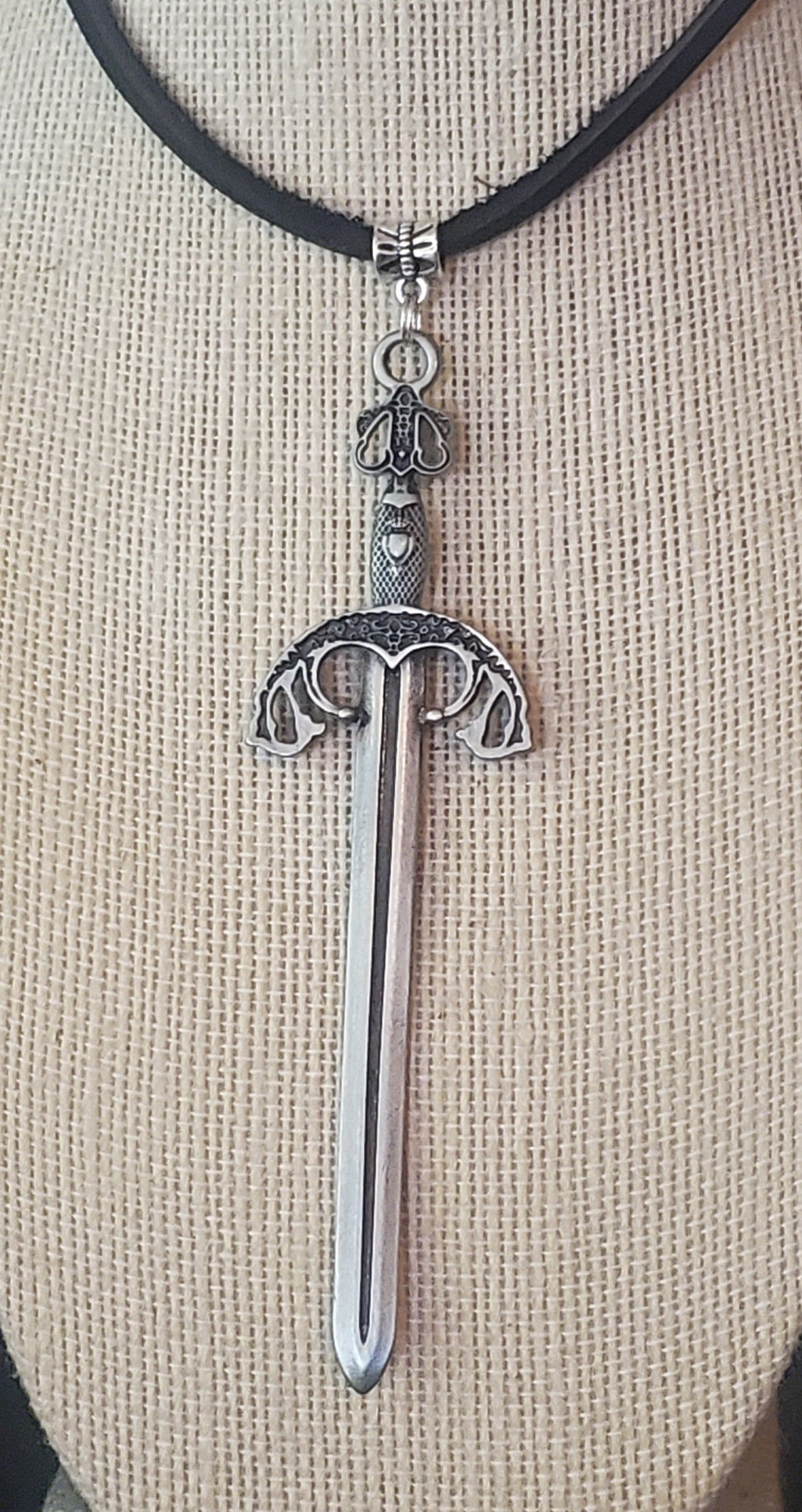 Large Knights Sword Pendant Leather Necklace