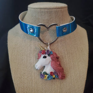 Unicorn Pendant Heart Iridescent Blue Choker Necklace