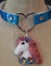 Load image into Gallery viewer, Unicorn Pendant Heart Iridescent Blue Choker Necklace