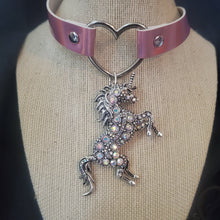 Load image into Gallery viewer, Unicorn and Heart Pink Iridescent Choker Necklace