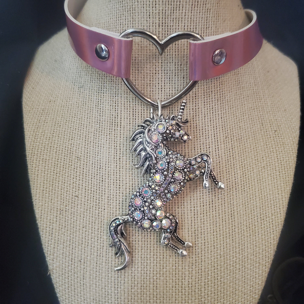 Unicorn and Heart Pink Iridescent Choker Necklace