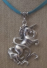 Load image into Gallery viewer, Unicorn Pendant With Leather Necklace