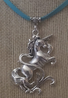 Unicorn Pendant With Leather Necklace