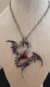 Metal dragon with red jewel necklace