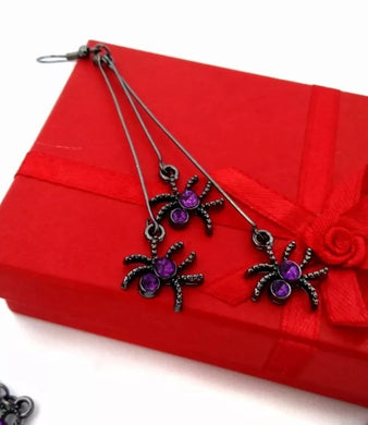 Adorable Spider Purple Earrings