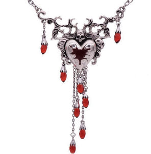 Bleeding Heart Skull Necklace