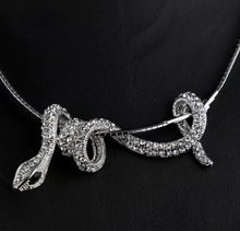Load image into Gallery viewer, Winding Rhinestone Snake Pendant Choker Necklace