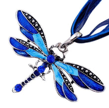 Load image into Gallery viewer, Brightly Colored Dragonfly Pendant Necklace