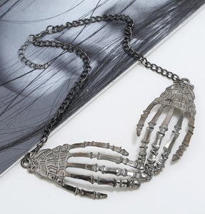 Skeleton Hands Large Pendant Necklace