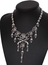 Load image into Gallery viewer, Pirate Skeleton Bone Pendant Necklace