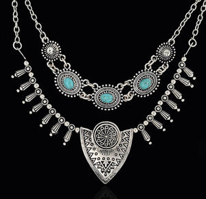 Double Hung Turquoise Accented Pendant Necklace