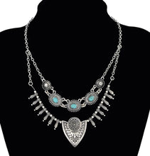 Load image into Gallery viewer, Double Hung Turquoise Accented Pendant Necklace