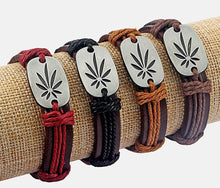 Load image into Gallery viewer, Unisex Marijuana Cannibas Adjustable Leather Bracelet Made With Hemp Cord