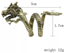 Load image into Gallery viewer, Adjustable Golden Dragon Ring