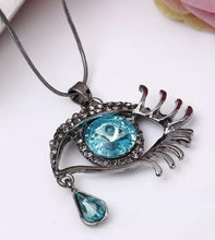 Load image into Gallery viewer, Eye Pendant Complimented With Rhinestones and A Teardrop Necklace