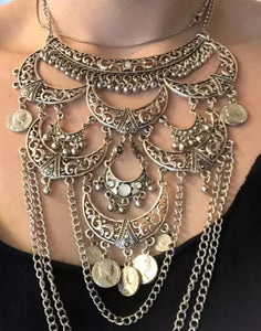 Skull Style Large Belly Dancing Necklace
