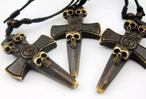 Skull Cross Ying Yang Pendant Adjustable Necklace