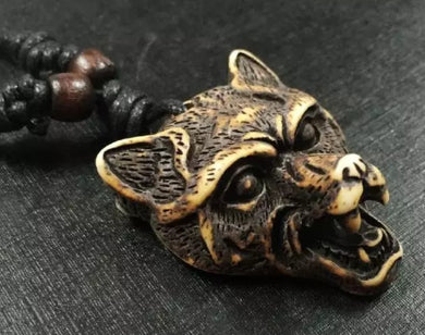 Wolf Head Pendant Black Adjustable Rope Cord Necklace