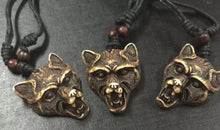 Load image into Gallery viewer, Wolf Head Pendant Black Adjustable Rope Cord Necklace