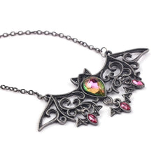 Load image into Gallery viewer, Gunsmoke Black Rhinestone Accented Bat Pendant Necklace