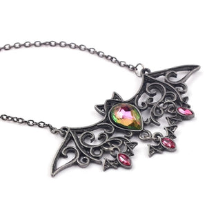 Gunsmoke Black Rhinestone Accented Bat Pendant Necklace