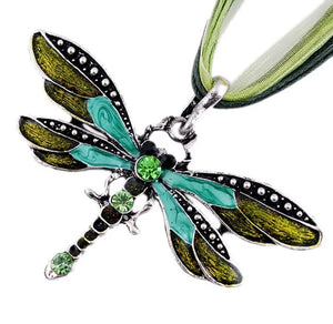 Brightly Colored Dragonfly Pendant Necklace