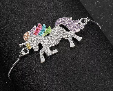 Rhinestone Prancing Unicorn Adjustable Bracelet