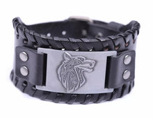 Load image into Gallery viewer, Viking Celtic Wolf Head Mens PU Leather Bracelet With Woven Edges