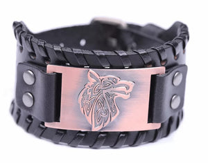 Viking Celtic Wolf Head Mens PU Leather Bracelet With Woven Edges