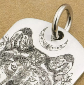 Engraved Indian Wolf Pendant Made Of 316L Stainless Steel With Black Leather Suede Necklace