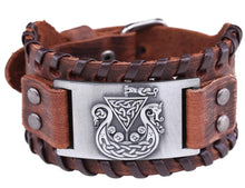 Load image into Gallery viewer, Viking Celtic Ship Mens PU Leather Bracelet With Woven Edges