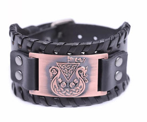 Viking Celtic Ship Mens PU Leather Bracelet With Woven Edges