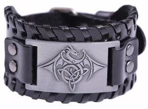 Viking Celtic Dragon Mens PU Leather Bracelet With Woven Edges