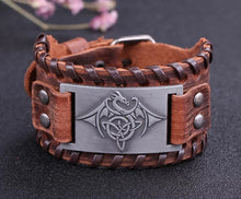Load image into Gallery viewer, Viking Celtic Dragon Mens PU Leather Bracelet With Woven Edges