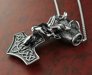 Celtic Hammer With Ram Head Penant On Chain Necklace