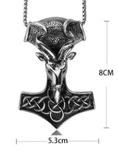 Load image into Gallery viewer, Celtic Hammer With Ram Head Penant On Chain Necklace