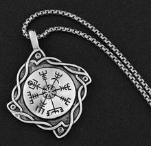 Load image into Gallery viewer, Viking Celtic Compass Pendant With Chain Necklace
