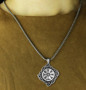 Viking Celtic Compass Pendant With Chain Necklace