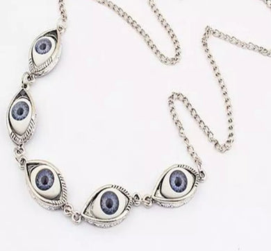 Five Blue Eyes Pendant Necklace