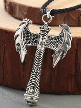 Load image into Gallery viewer, Viking Hatchet Pendant With Black Rope Necklace