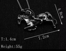 Load image into Gallery viewer, Riding Skeleton Knight On Horse Pendant With Chain Necklace