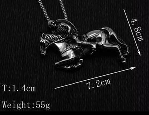 Riding Skeleton Knight On Horse Pendant With Chain Necklace