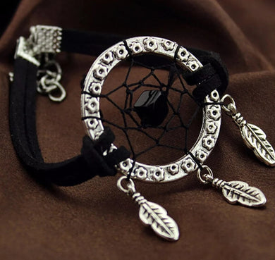 Dreamcatcher Indian Feather Charm With Black Suede Bracelet