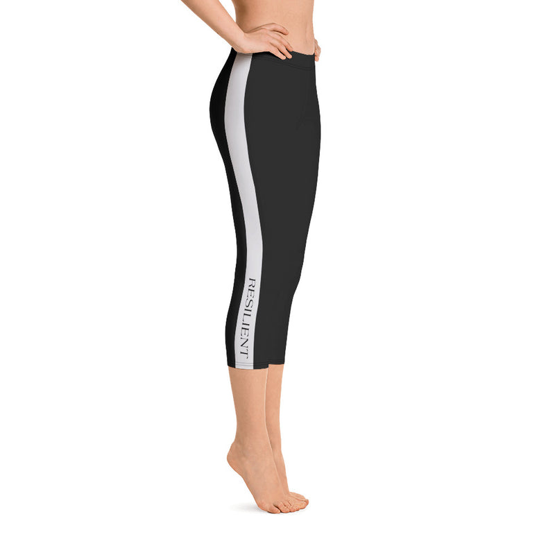 Black Stripe Yoga Capri Leggings