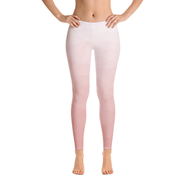 RTYM Soft Pink & white lush Leggings (Without Waistband)