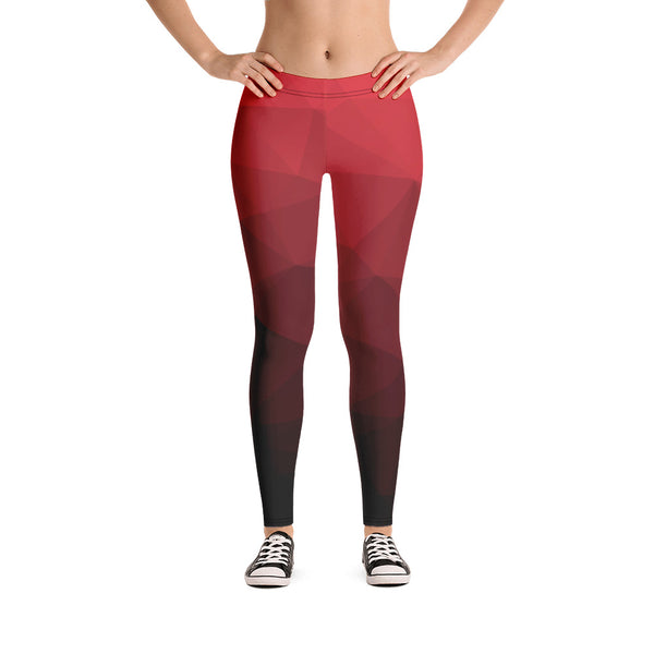 RTYM Red & Black Sports Leggings(Without Waist Band)