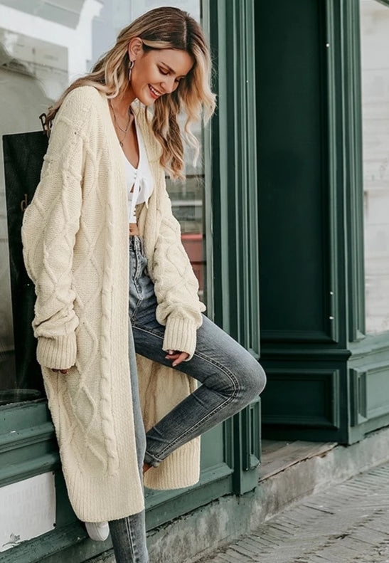 RTYM Cream long sweater cardigan - Shop: Resilience Through Yoga