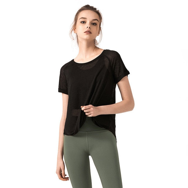RTYM New solid color breathable yoga shirt