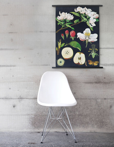 Apple Tree old self hanging un framed poster with wooden rods in a room setting