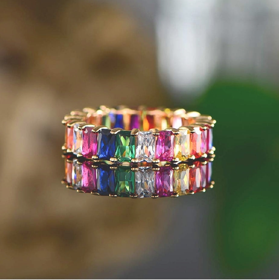 Thin Baguette Rainbow Multi Color CZ Gold Ring